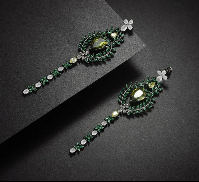 Leaf Flower Drops trendy earrings.