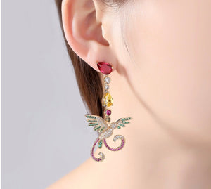 Golden Hummingbird Earrings