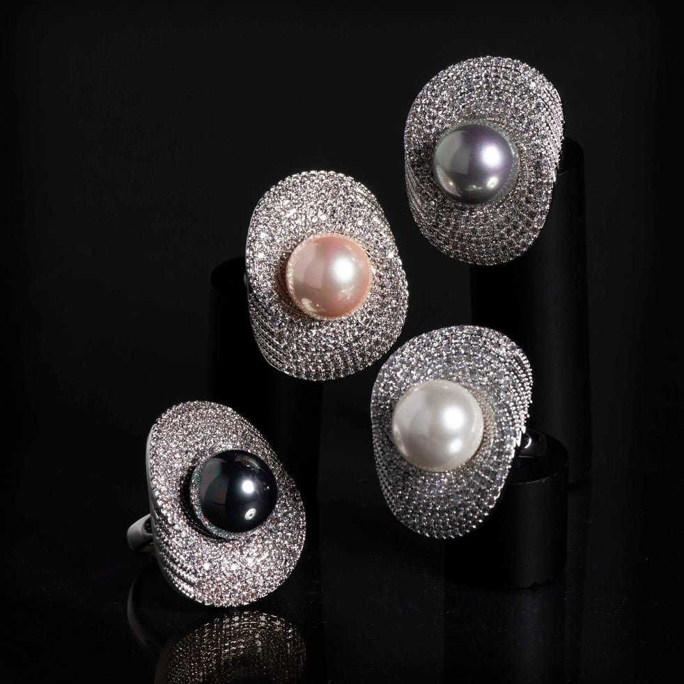 Large Pearl Rings Collection