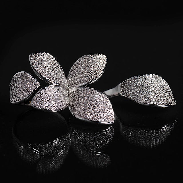 Silver Double Finger Flower Ring