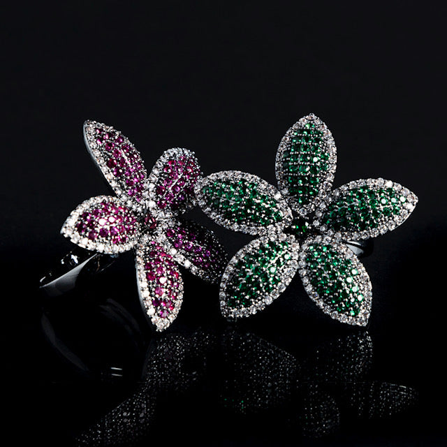 Green Adjustable Flower Ring