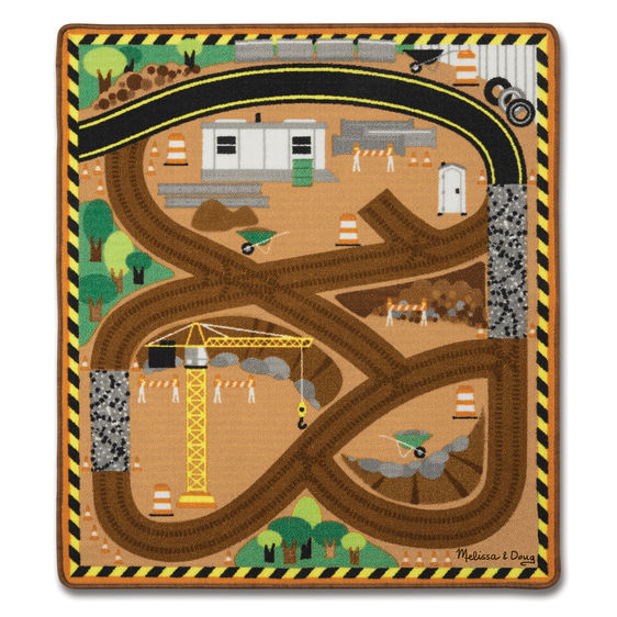 Melissa & Doug Round the Construction Zone Work Site Rug and Vehicle Set