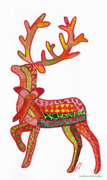 Christmas Roxie Reindeer Tea Towel | Southern Bird Studio