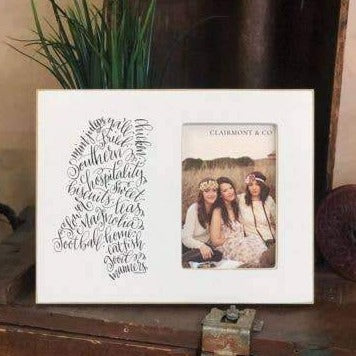 "MississippiCalligraphy Lily Style State Frame for 4"" x 6"" Vertical Photo"