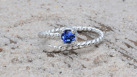 Sterling Silver Stackable Wrap Birthstone Ring from Earth Grace Artisan Jewelry
