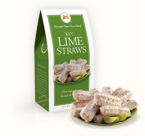 Key Lime Straws 3.5oz Carton - Mississippi Cheese Straw Factory