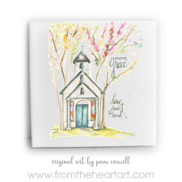 From The Heart Art - Amazing Grace Chapel Ceramic Tile