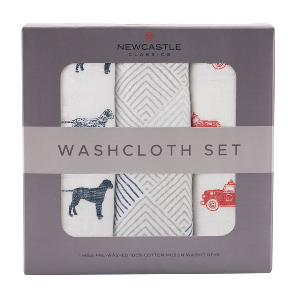 Fire Truck Washcloth Set of 3