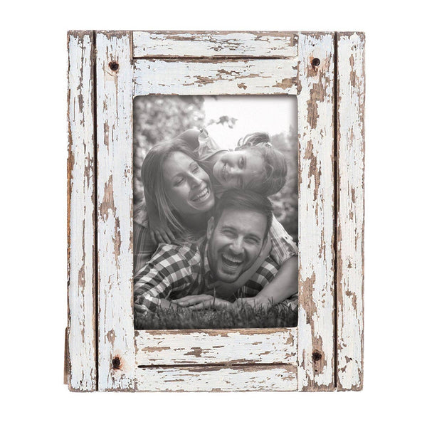 "Distressed White Wooden Heartland Frame for 5"" x 7"" Photo or Art Print"