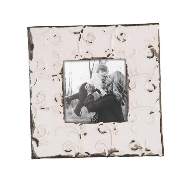 "Decorative Rustic Tin Tile Metal Picture Frame for 5"" Square Photo"