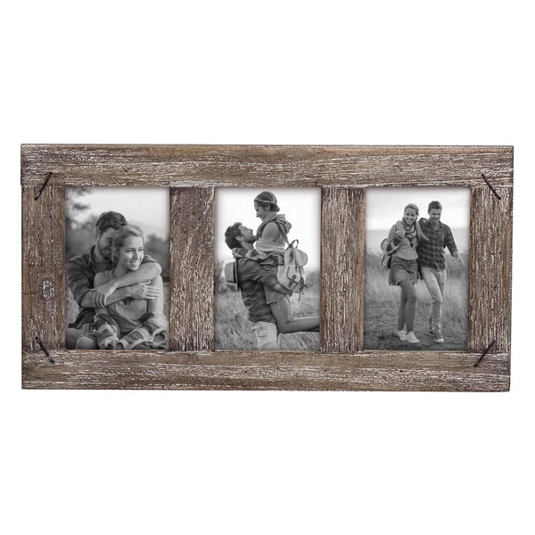 "Three Photo Weathered Wood Frame With Nail Accents for 4"" x 6"" Photos"