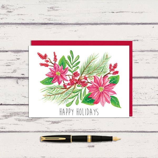 Happy Holidays Watercolor Poinsettia Spray Christmas Greeting Card