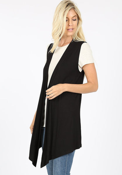 Open Front Sleeveless Cardigan Vest