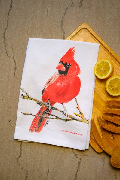 Cardinal Watercolor Print Towel | Southern Bird Studio