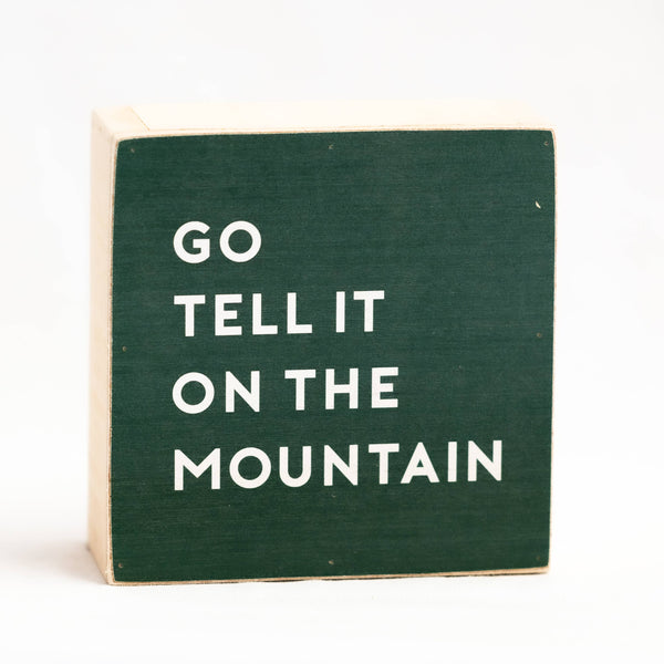 "Go Tell It On The Mountain Christmas Wood Block 6"" x 6"" Shelf Sitter"
