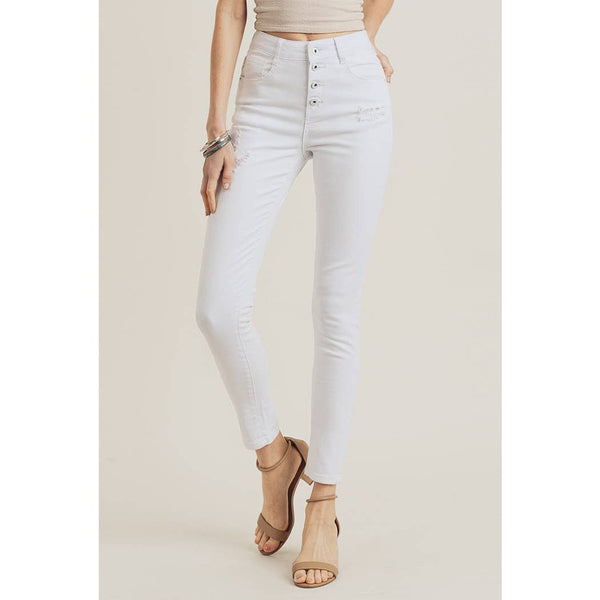 High Waist Button Down White Skinny Jeans
