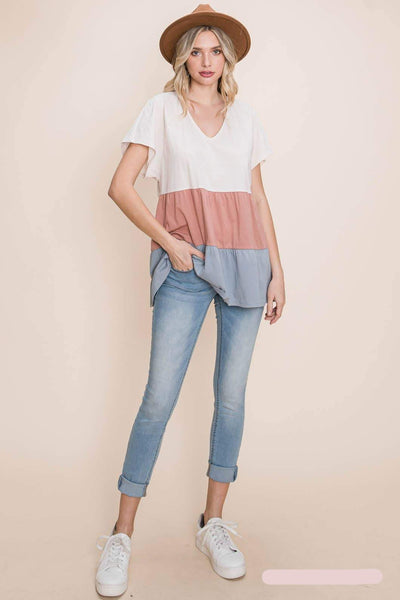 PLUS Color Block V Neck Short Sleeve Tiered Ruffle Top | Cotton Bleu