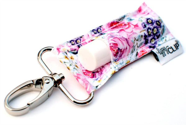 Pink and Purple Floral LippyClip Lip Balm Holder
