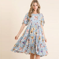SALE! Woven Tiered Midi Dress in Sky Blue Floral Print