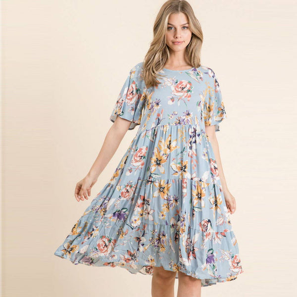 Woven Tiered Midi Dress in Sky Blue Floral Print