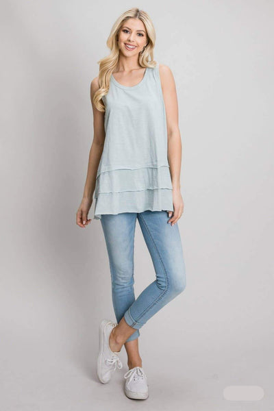 Washed Cotton Layered Bottom Tank Top - Soft Mint Green | Cotton Bleu