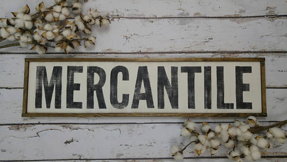 Mercantile Sign - Hand Painted Wood