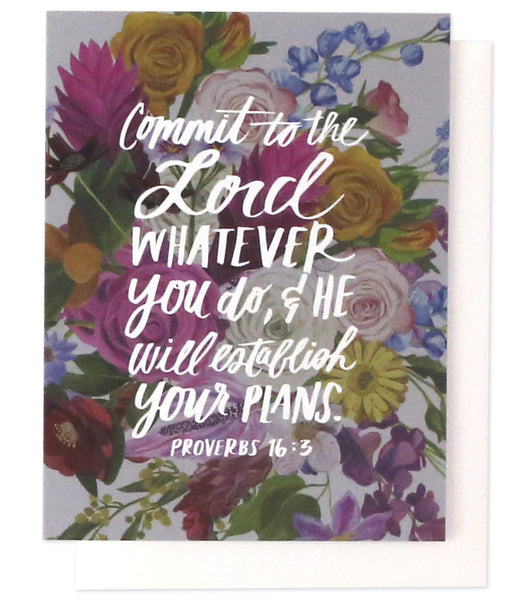 Commit To The Lord Verse Greeting Card | Thimblepress