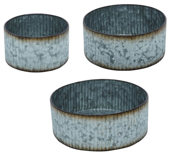 Set of Three Rustic Corrugated Metal Containers
