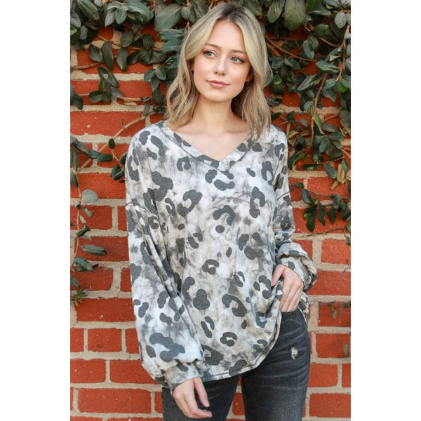 Animal Print Tie Dye V-Neck Drop Shoulder Long Sleeve Top
