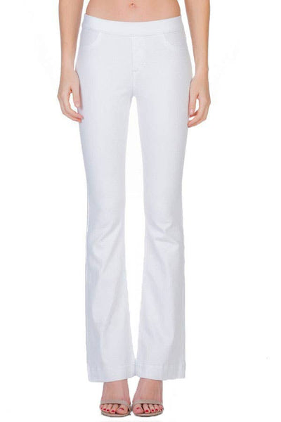 Mid Rise White Flare Jeggings | Cello Jeans