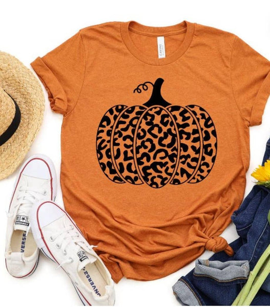 SALE! Leopard Print Pumpkin Orange Short Sleeve T-Shirt