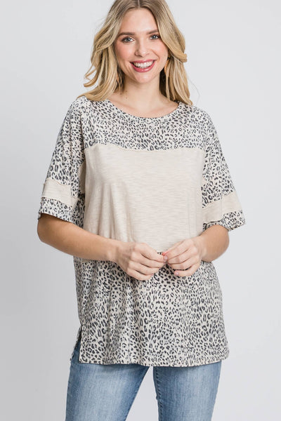 Leopard Print Color Block Short Sleeve Top Raw Edge Detail