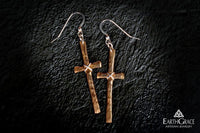 Hammered Cross Sterling Silver Earrings - Earth Grace Artisan Jewelry