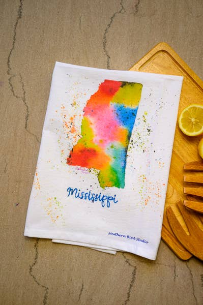 Mississippi Watercolor Print Towel | Southern Bird Studio