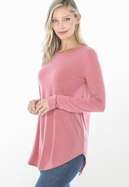 Long Sleeve Round Neck Round Hem Top in Dusty Rose
