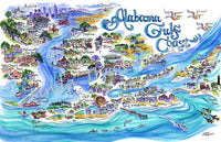 Alabama Gulf Coast Limited Edition Print by Linda Theobald Art Royal Blue Mat