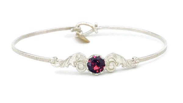Angel Wings Sterling Silver Band Birthstone Bracelet | Earth Grace Artisan Jewelry