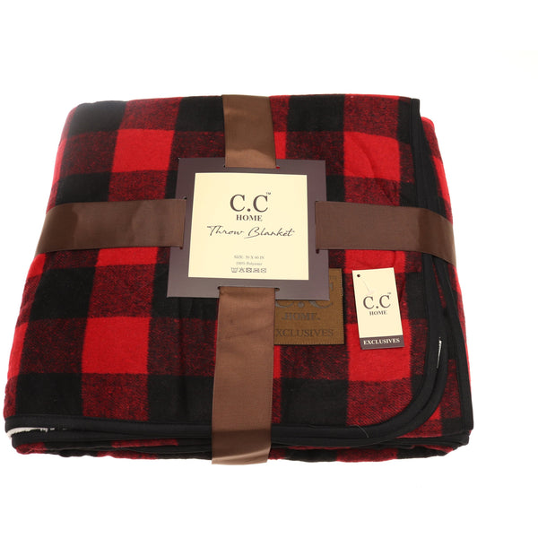 Buffalo Check Sherpa Lined Throw Blanket - Red/Black | C.C Beanie