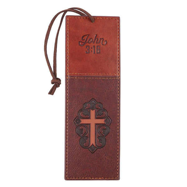 John 3:16 Two-Tone Brown Faux Leather Bookmark with Cross