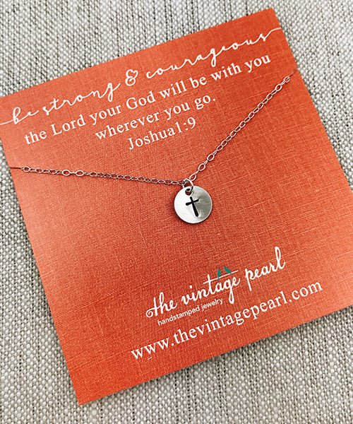 Be Strong and Courageous Cross Necklace