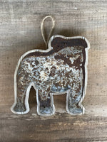 Bulldog Wood and Rusty Metal Ornament