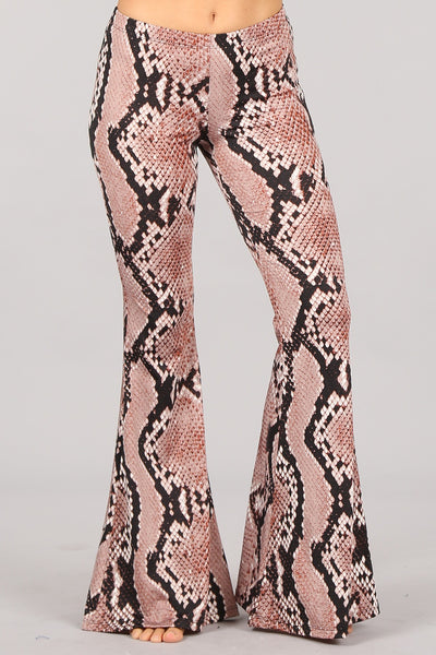 Snakeskin Print Bell Bottom Flare Pants | Chatoyant