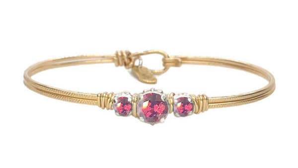 Birthstone Triple Setting Bracelet 14K Gold Filled | Earth Grace Artisan Jewelry