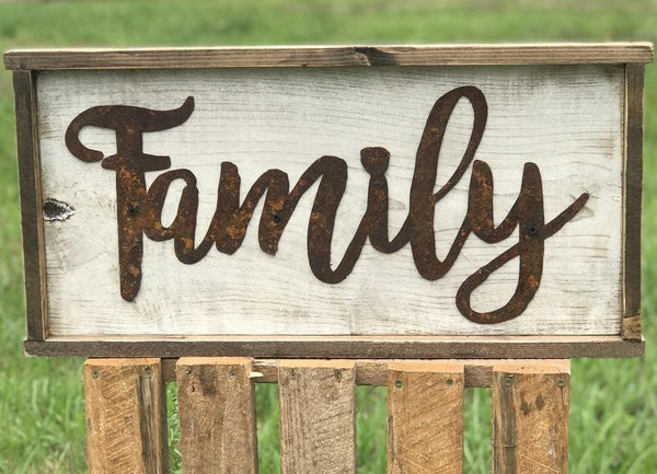 Family Framed Wooden and Metal Sign