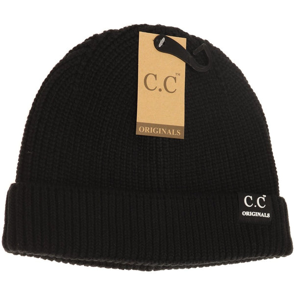 Unisex Solid Ribbed Knit Short Beanie - Black | C.C Beanie