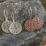 Hand Antiqued Circle Filigree Earrings