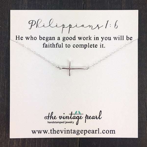 He Is Faithful Cross Sterling Silver Necklace