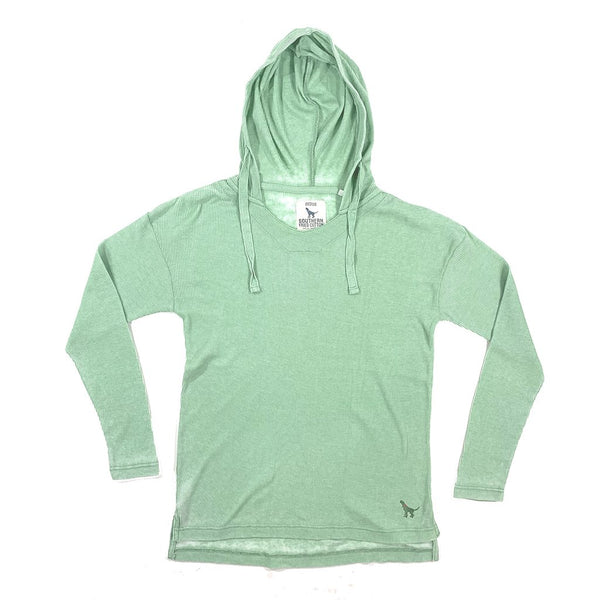 Seaside Waffle Hooded Pullover - Mint Green | Southern Fried Cotton