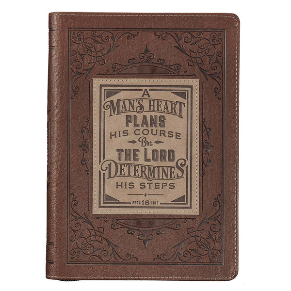 A Man's Heart Classic Faux Leather Zippered Journal
