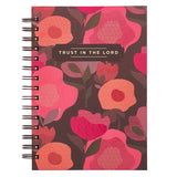 Trust In The Lord Pink Poppy Large Wire-bound Journal